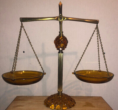 Vintage 1960's Princess House Brass and Amber Glass Justice Scales Judge