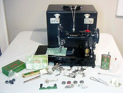 222 K~1955  SINGER FEATHERWEIGHT  EK632522 ~16 Aug  FREE ARM/Darn Lot of Accees.