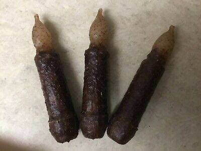 "THREE Primitive Dark Brown LED 4.5"" Battery Operated TIMER Taper Candles"
