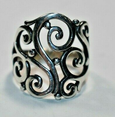 Beautiful JAMES AVERY Sterling Silver open SORRENTO Scroll Ring Sz- 7.5