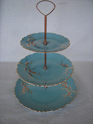 1950's Old Foley James Kent Turquoise 3 Tiered Cake Plate Capri Cherry Blossom