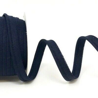 Plain Polycotton Piping Bias Binding - 10mm Wide - Navy - Per Metre