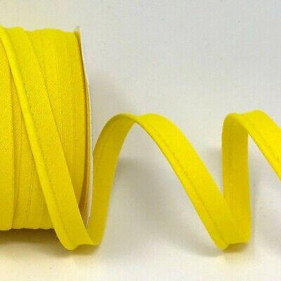Plain Polycotton Piping Bias Binding - 10mm Wide - Yellow - Per Metre