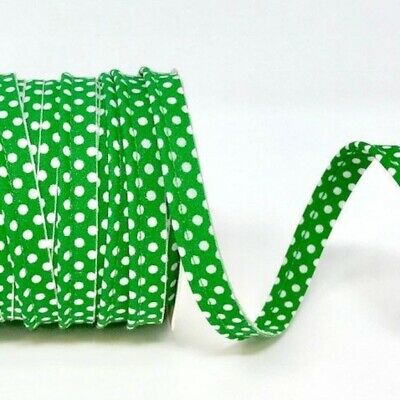 Polycotton Spotty Piping Bias Binding - 10mm Wide - Emerald With White Dots -...