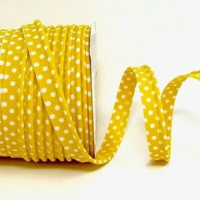 Polycotton Spotty Piping Bias Binding - 10mm Wide - Yellow With White Dots - ...