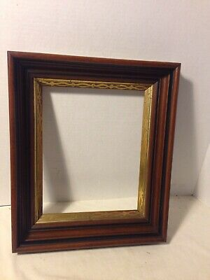 Antique Aesthetic Victorian Deep  Carved Walnut Black & Gold Picture Frame 19C