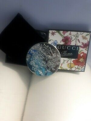 """GUCCI FLORA Silver The Flora Garden Compact Mirror 3"""" 100% Authentic RRP £90 NEW"""