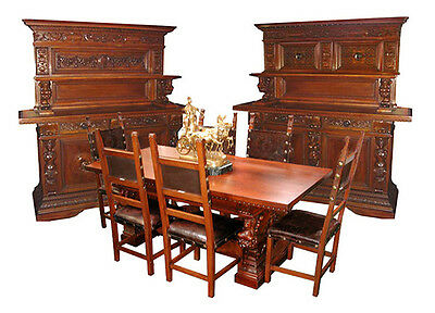 9-Piece European Carved Figural Dining Suite c. 1880 #5050