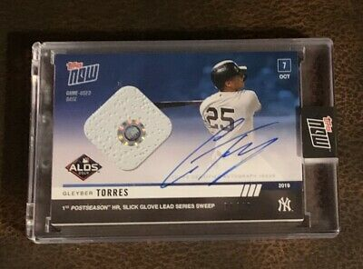 2019 Topps Now #981A Gleyber Torres Auto Base Relic # /49 - Hr Leads Alds Sweep
