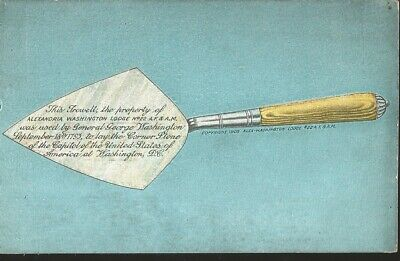 J) 1963 United States, Masonic Grand Lodge, The Washington Trowel, Postcard