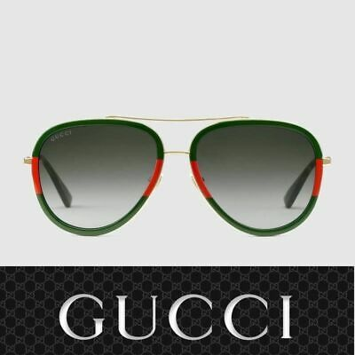 ✅ Gucci Sunglasses GG0062S 003 Gold Red Green / Gray for Women
