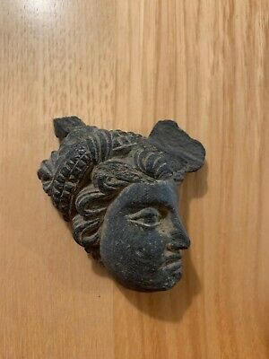 Gandhara Black Schist Stone Ancient Head (estimated Age 290AD)