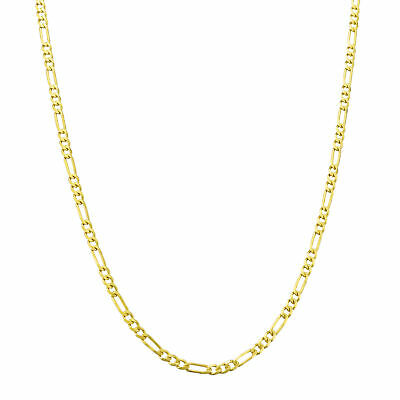 """10K Real Yellow Gold 2mm Italian Figaro Chain Link Pendant Necklace 16""""- 26"""""""