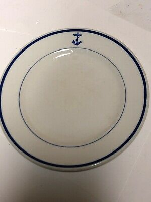 "USN US Navy Mess One Salad Plate Fouled Anchor 7 1/4"" By Mayer China"