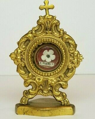 Antique 1st Class Religious Relic - Pope Pius X - in Brass Monstrance Holder