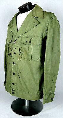 Original Wwii Us Army M-1941 Hbt Jacket - First Pattern - Large Size With Number