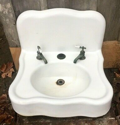 Antique Porcelain Bathroom Lavatory Sink Cast Iron ~ Original hot/cold