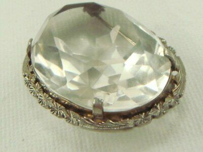 Silver Plated Art Deco Glass Pin Brooch Clear Faceted Stone Lovely!