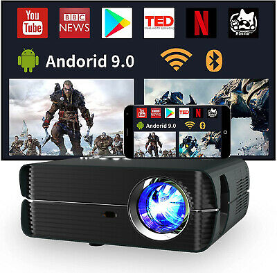 HD LED LCD Android Video Projector WiFi Bluetooth Home Cinema Movie HDMI 1080p