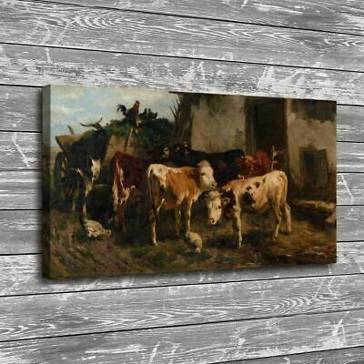 """16""""x30""""Animal Cows Chickens Painting HD Print Canvas Home Decor Room Wall Art"""