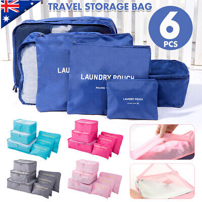 6Pc Travel Luggage Organiser Packing Bag Clothes Underwear Sock Storage Suitcase