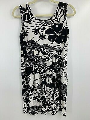 Jam's World Shift Dress - Black White Floral Hibiscus, Crinkle Fabric - Size XS