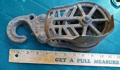 Antique Myers Cast Iron Hay Trolley Barn Pulley Vintage Farm Tool Rusty Gold