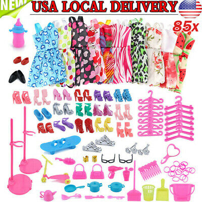 85x For Barbie Doll Clothes Party Gown Outfits Shoes Bags Crown Toy Accessory US