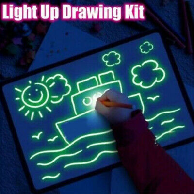 Magic Draw W/ Light Drawing Board Fun Developing Toy Kids Educational Paint qr5h