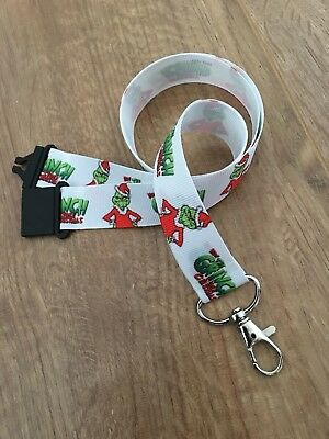The Grinch Christmas Design Ribbon Lanyard With Break Away Clip I.D Holder