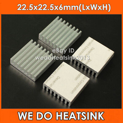 12pcs Square 22.5x22.5x6mm Aluminum IC LED Heatsink With Adhesive Thermal Tape