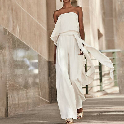 Womens Bandeau Sleeveless Lace Up Jumpsuit Party Prom Wide Leg Trousers Playsuit