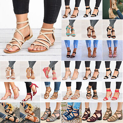 Womens Summer Low Mid Heel Peeptoe Espadrilles Sandals Ankle Strap Party Shoes