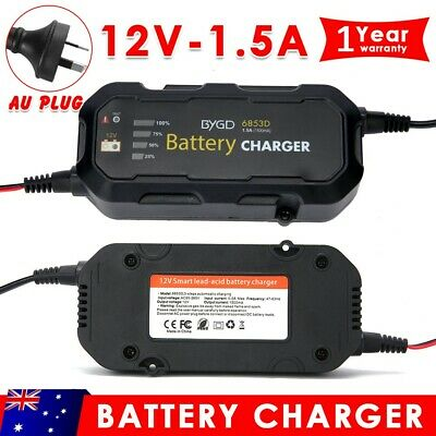 Smart Battery Charger 1.5A 12V Automatic SLA AGM Car Truck Boat Motorcycle