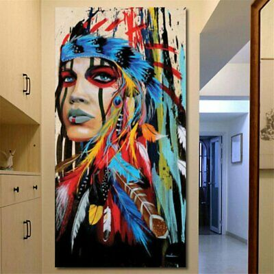 40''x20'' Indian Woman Abstract Canvas Art Print Oil Painting Wall Home Decor