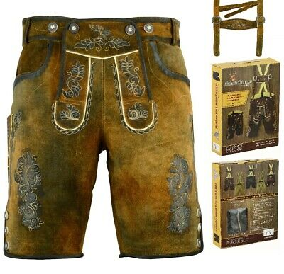 Bavarian German Pure Leather Men Trachten Wear Oktoberfest Men Lederhosen Shorts
