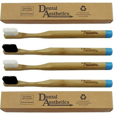 4 x Bamboo Toothbrush ~ Medium Bristle Black White Bio-Degradable Plastic-Free