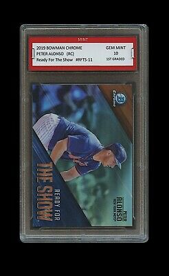 PETER ALONSO 2019 BOWMAN CHROME INSERT Topps 1ST GRADED 10 ROOKIE CARD METS Pete