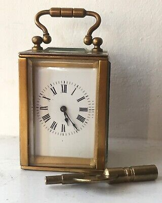 Antique French Miniature Brass Carriage Clock @ 1900 & Key