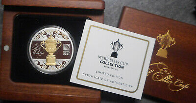 New Zealand 2011 Webb Ellis Rugby World Cup 1oz Silver Proof $1 Dollar coin Gilt