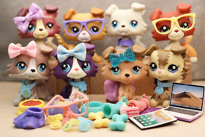 8Lot Authentic Littlest Pet Shop LPS Collie Puppy Dog Collection Kid's Toys