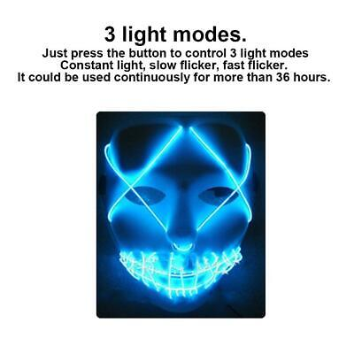 Halloween LED Glow Scray Mask5 Modes EL Wire Light Up For Movie Costume Party CN