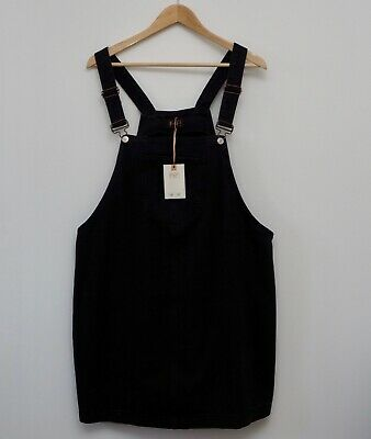 NEW F&F Denim pinafore dress size 22 black dungaree mini Tesco