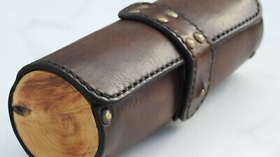 Leather and wood glasses case for men.  Handmade.