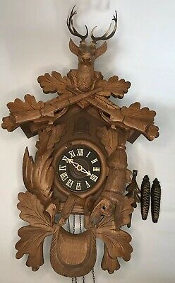 Elegant Vintage German Cuckoo Clock With Antique Design