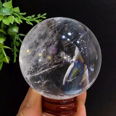 63mm Natural Polished Rainbow Clear Quartz Crystal Sphere Stone Specimen+Stand
