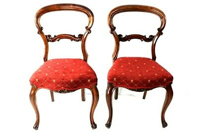A Pair of Antique Mahogany Balloon Back Chairs - FREE Shipping [5557 B]