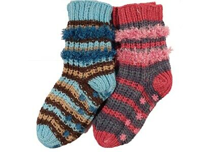 Ladies 2 pairs Soft Chenille Socks with Feather Type Trim Bargain Christmas Stoc