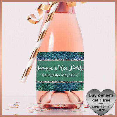 Personalised MERMAID Hen Party CHAMPAGNE / WINE Prosecco LABELS Small Bottle