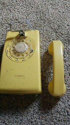 Vintage Yellow Rotary Bell System Western Electric Phone wall mount